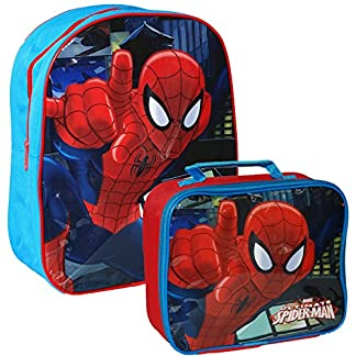 Marvel® Ultimate Spider-Man Spiderman oficial niños niños escuela viaje mochila mochila bolsa y juego de bolsa para el almuerzo