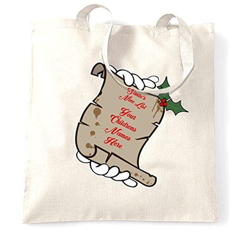Natale Sacchetto Di Tote Bella lista di Babbo Natale i vostri figli nomi qui di Natale personalizzati White