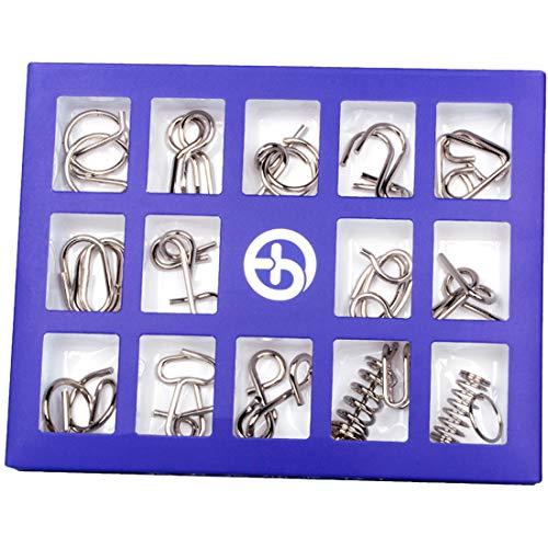 Seciie Knobelspiele, 15St. 3D Puzzle IQ Spiele Geduldspiele Logikspiele Knifflige Spiele Brainteaser Spiele für Kinder und Erwachsene