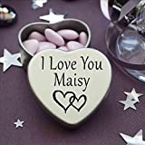 I Love You Maisy Mini Heart Tin Gift For I Heart Maisy With Chocolates. Silver Heart Tin. Fits Beautifully in the Palm of Your Hand. Great as a Birthday Present or Just as a Special Gift to Show Somebody How Much You Love Them.