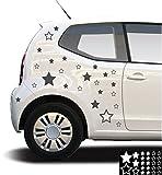 Kleb-drauf® - 25 Sterne/Schwarz - matt - Aufkleber zur Dekoration von Autos, Motorrädern und allen anderen glatten Oberflächen im Außenbereich; aus 19 Farben wählbar; in matt oder glänzend