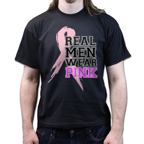 Real Men Wear Pink Rosa Breast Cancer Charity Awareness Brustkrebs Schleife T-shirt Schwarz