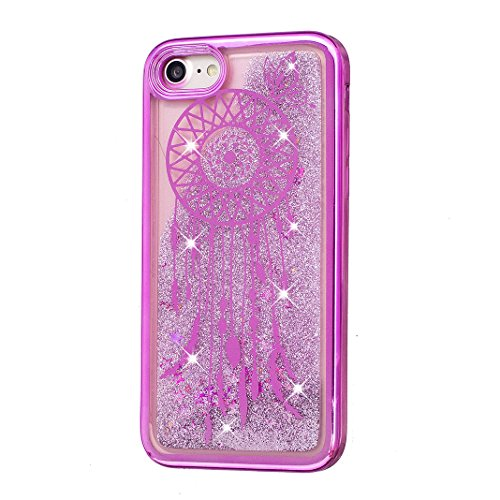 iPhone 7 Hülle OuDu Glitzern Funkeln Hülle TPU Silicone Etui für iPhone 7 Bling Glitter Case Soft Lightweight Bumper Sparkle Style Cover Flexible Schlanke Schale Glatte Leichte Tasche Ultra Dünne Etui Rote Glockenspiele