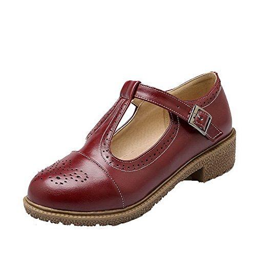 AgooLar Femme Pu Cuir à Talon Bas Rond Couleur Unie Boucle Chaussures Légeres Rouge