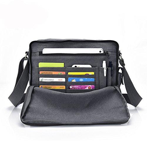 Outreo Borse a Tracolla Uomo Borsello di Tela Borsa a Spalla Vintage Messenger Bag Canvas Sacchetto di Libro per Scuola Università Tablet Tasche da Viaggio Outdoor Sport Tasca Grigio One
