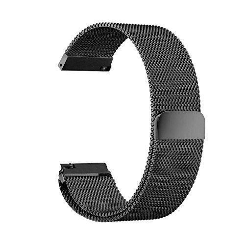 Schnellwechsel-Armband - Breite 18mm / 20mm / 22mm / 23mm/ 24mm Rostfreier Stahl Uhrenarmband mit Magnet Milanese Schleife Edelstahl-Uhrenarmband (20mm, Black)