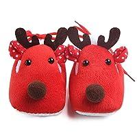 periwinkLuQ Baby Warm Shoes Christmas Deer Fleece Anti Slip Soles Prewalker Sneaker for Baby Girls Boys Red