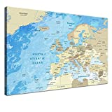 """LanaKK – Europakarte Leinwandbild mit Korkrückwand Zum pinnen der Reiseziele """"Europakarte Frozen"""" - Englisch - Kunstdruck-Pinnwand Globus in Blau, Einteilig & fertig gerahmt in 60x40cm"""