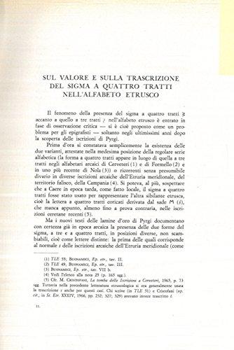 Sul valore e sulla trascrizione del sigma a 4 tratti nell'alfabeto etrusco.