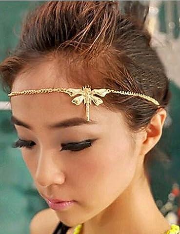 PU&PU Lucky Star Women's Elegant Rhinestone Dragonfly Hair Chain , gold