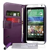 Yousave Accessories Coque HTC Desire 610 Etui Violet PU Cuir Portefeuille Housse Avec Mini Stylet
