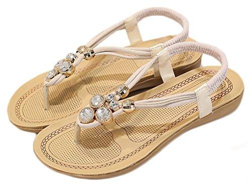 NEWZCERS Sandales en strass en strass aux couleurs pure d'été Blanc