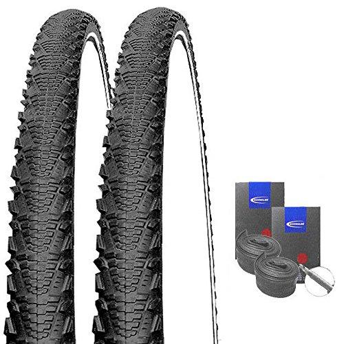 Semi-slick-reifen (SET: 2 x Schwalbe CX Comp REFLEX SEMI SLICK 26x2.00 / 50-559 + SCHWALBE Schläuche Rennradventil)