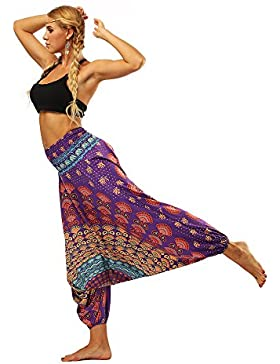 Pantalones Yoga Mujeres Women Casual Summer Loose Yoga Trousers Baggy Boho Aladdin Jumpsuit Harem Pants