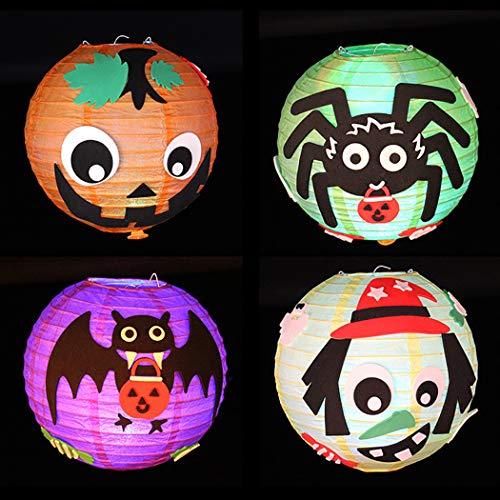 Joyibay 4 Sets Handmade Craft Kit Leuchten Sie Papierlaterne DIY Craft Kit für Halloween
