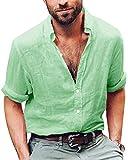 ShallGood Herren Leinen Hemd Sommer Henley Shirts Langarm Business Stehkragen Regular Slim Fit Freizeithemden Hemden Tops Pullover Strand-Hemden