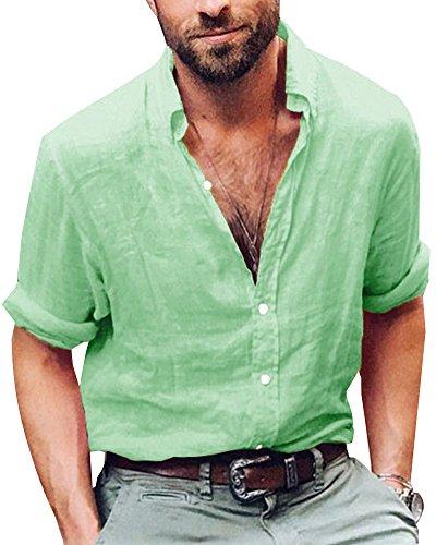 Shallgood uomini di marca casual maniche lunghe di lino camicie camicie beach a verde small