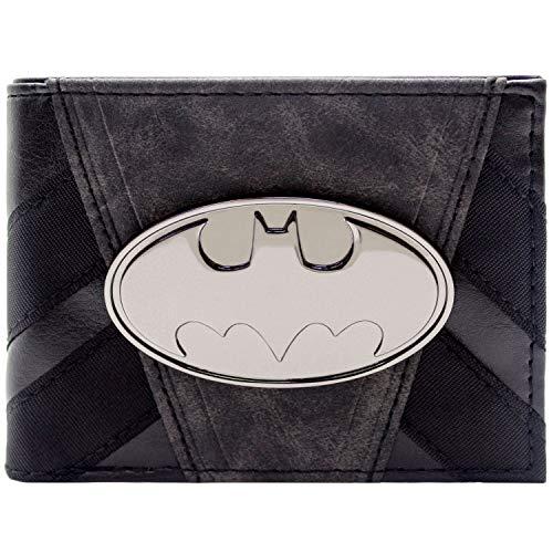 DC Batman Metall Abzeichen Gestreift Anzug Schwarz Portemonnaie Geldbörse