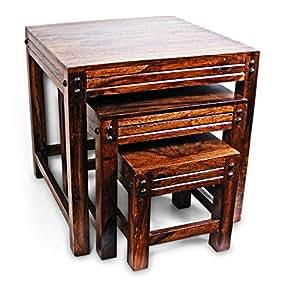 "Indian Sheesham ""Jaipur"" Solid Wood Nest of 3 Table"