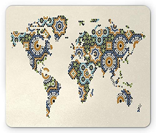 Modern Mouse Pad, Arabesque Moroccan Art Inspired Antique Mosaic Style World Map Middle East Culture, Standard Size Rectangle Non-Slip Rubber Mousepad, Multicolor -
