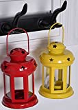 #5: Set Of 2 Sammsara decorative Iron lanterns hanging with t light Candle (Yellow,Red,).Hanging lanterns for home decoration ,t light holder hanging