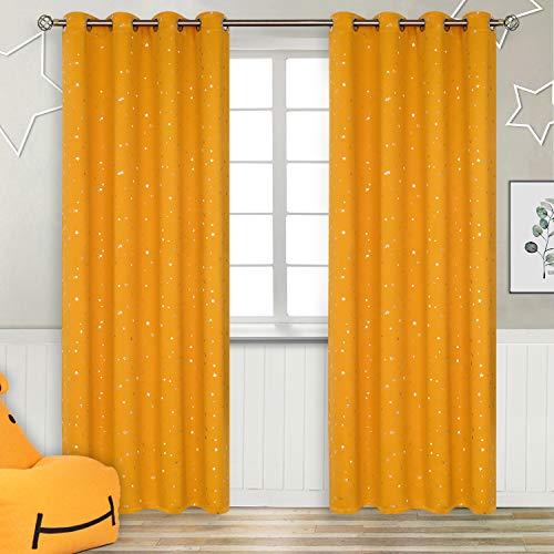 Cortinas opacas amarillas con ojales 55x96 cm