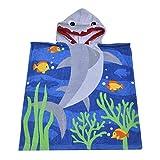 SearchI Toalla de Baño Playa Encapuchado Poncho para Niños, 100% Algodón ranspirable Albornoces de Dibujos Animados Tiburón Infantiles Secado Rápido Bata de Baño Bebé Manta de Baño (60x58cm)
