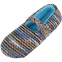 Absolute Footwear Ladies/Womens Slip On Slippers/Pumps/Indoor Shoes with Warm Polar Fleece Inners - Blue - UK 8