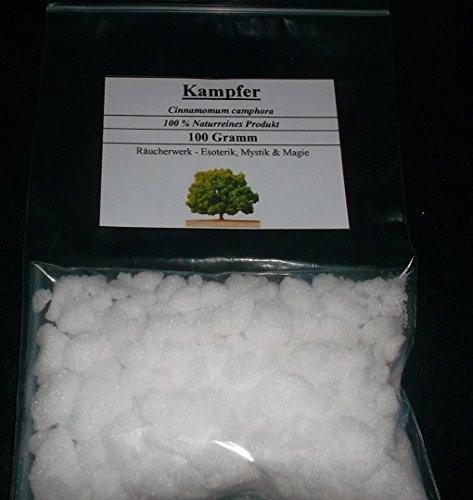 Alcanfor (Cinnamomum camphora) 100%, también disponible en bolsa de 50g. Características: huele a menta fresca, tiene las propiedades del eucalipto, el alcanfor libera las vías respiratorias.Debido a su alta constantes crioscópicos de 39,7 K * (kg / ...