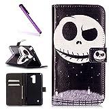 EMAXELERS LG Stylus 2 Hülle PU Leder Brieftasche Hülle Schutzhülle Tasche Ledertasche Kartenfach Flip Cover Wallet Case für LG Stylus 2 LS775/LG G Stylo 2 K520,Moon Skull
