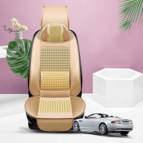 Vordersitzbezüge, 2 STK Front Seat Protector 3mm Breath Schwamm nach innen und kompatibel Airbag Durable (Size : Beige+Headrest)