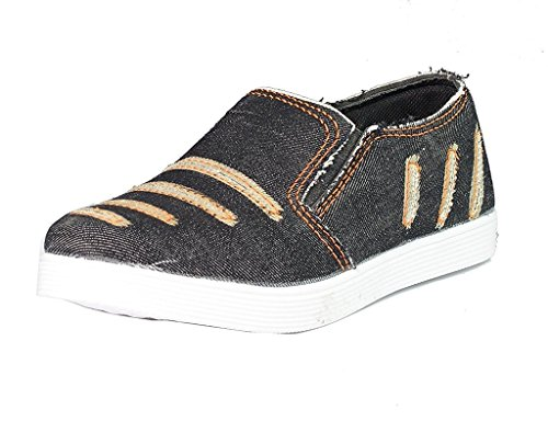 SGTS Denim Loafer Shoes (Black/Tan) - 8UK  available at amazon for Rs.199