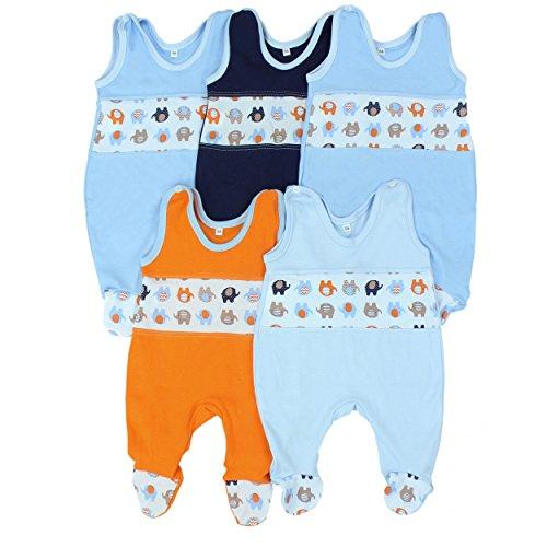 Babystrampler Jungen Strampler Baby Strampelanzug Mädchen 100% Baumwolle im 5er Pack , Farbe: Junge, Größe: 68