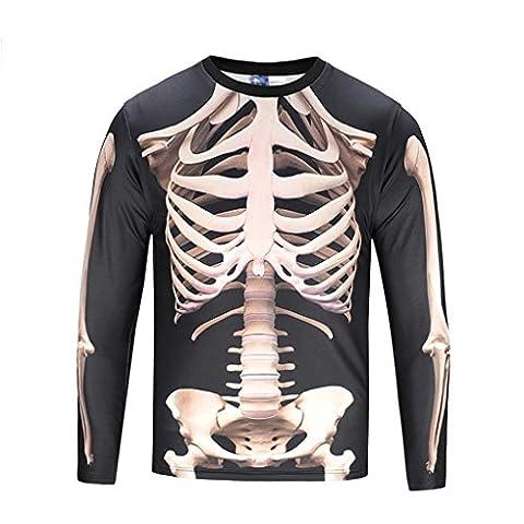 Mengonee Hommes T-shirt ¨¤ manches longues 3D Print Squelette humain Faux Chemises ¨¤ deux pi¨¨ces Hiphop Basic