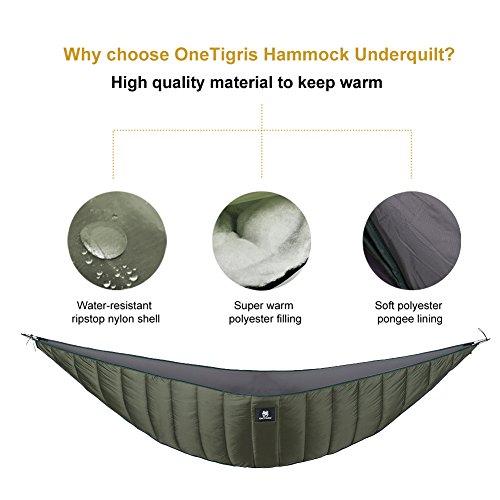 OneTigris Isomatten Underblanket für Hängematten (Armee Grün - für 2-3 Jahreszeit) (Ripstop-nylon-shell)