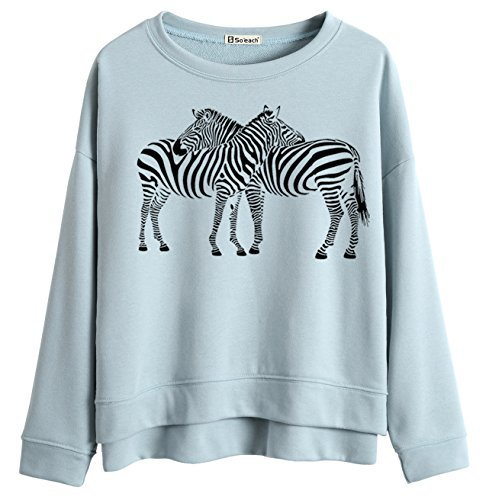 So'each Women's Cute Zebra Lovers Graphic Printed Sweatshirt Pullover Tops Bleu