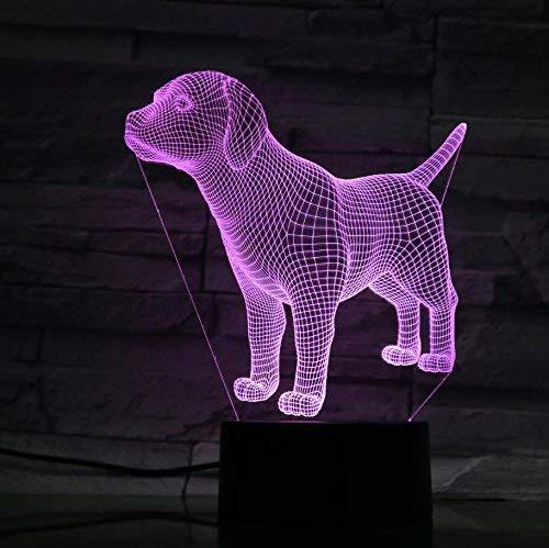 Ilusión Optica 3D Perro Luz de Noche 7 Colores que Cambian USB Poder Touch Switch Decor Lámpara LED Mesa Lámpara Niños Juguetes Cumpleaños Navidad Regalo