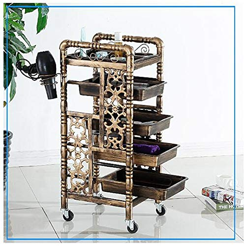 5 Tiers Retro multifunktionale Golden Friseur Trolley Hair Salon Speicher Tablett Barber Beauty makeup Cart mit 4 SchubLaden
