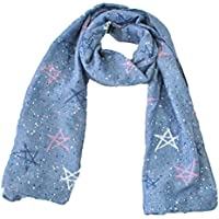 Hosaire Bebé Pañuelos de Cuello del Lino del bebé Unisex de la Bufanda para Niños Niñas Patrón de Big Star 140 * 40cm (Azul)