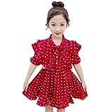 Livoral Mädchen Kurzarm Dot Print Bow Party Prinzessin Kleid Young Kinderbekleidung(Rot,150)