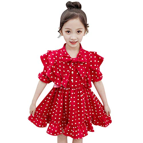 zarm Dot Print Bow Party Prinzessin Kleid Young Kinderbekleidung(Rot,110) ()