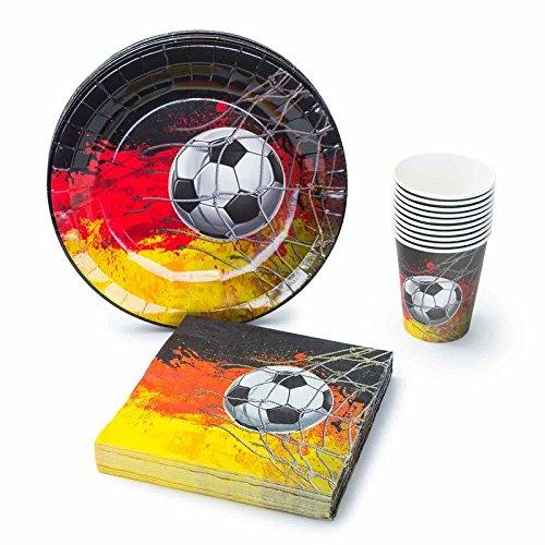 (UMOI Einweg Fußball WM Partygeschirr Deutschland Set - 30 Hochwertige Pappteller, 30 Pappbecher und 60 Servietten für den ultimativen Fußball-Grillabend 120tlg.)