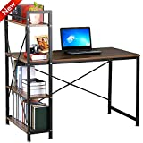 Popamazing 4 Tier Shelving Computer Desk Home Office Desks Student PC Workstation Laptop Table
