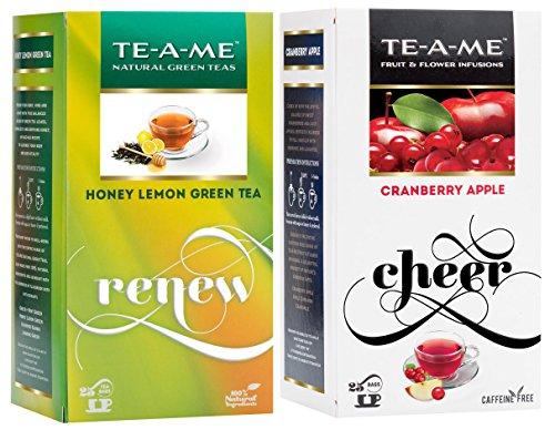Te-a-me Honey Lemon Green Tea & Cranberry Apple Tea Combo - 50 Tea Bags