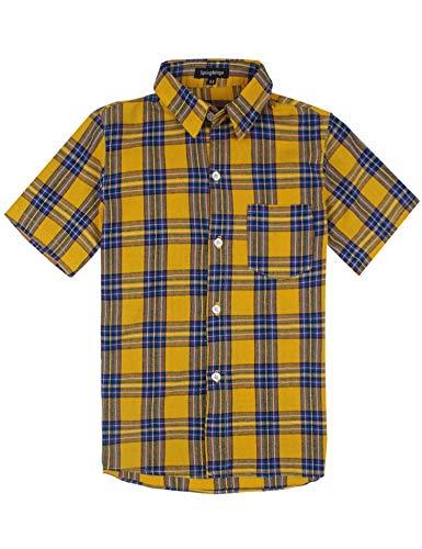 Spring & gege ragazzo camicie a quadri maniche corta,casual shirt per bambini giallo 13-14 anni