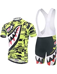 XINTOWN Verano Hombres transpirable de secado rápido de peso ligero cómodo hombres de manga corta jersey + relleno cortocircuitos juego de ropa de ciclismo Riding Sportswear tiburón fluorescente ( Size : M )