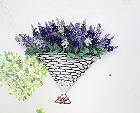 DYF Soie Fleur glycine Simulation Wall Hanging Basket en rotin,Décoration M