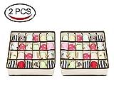 Watooma Aufbewahrungsboxen für Unterwäsche und Andere Kleine Zubehörteile,24 Zellen Faltbare Schubladenunterteilungen Zum Aufbewahren von Socken,Schals,Büstenhalter (2pcs)