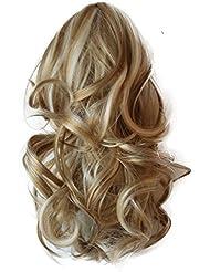 PRETTYSHOP 35cm Clip sur l'extension postiche Pièce de cheveux ondulé Look naturel fibres résistant à la chaleur Blond mix # 25H613 H83