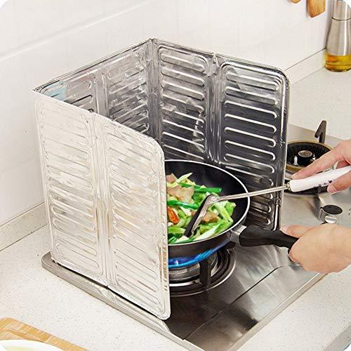 WEIWEITOE-DE Küche Gasherd Ölabweiser Aluminiumfolie Wärmeisolator braten Wärmeisolator Ölsperre Öl, Silber, Braten Board